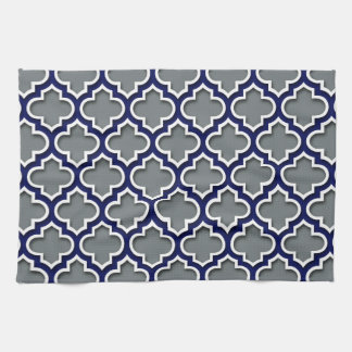 Charcoal Gray Navy White Moroccan Quatrefoil #5DS Tea Towel