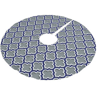 Charcoal Gray Navy White Moroccan Quatrefoil #5DS Brushed Polyester Tree Skirt