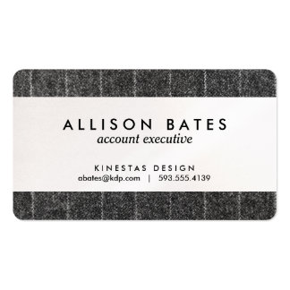 Charcoal Gray Pinstripe Tweed Slate Black Fabric Business Card Templates
