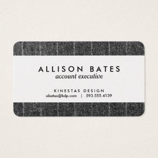 Charcoal Gray Pinstripe Tweed Slate Black Fabric Business Card