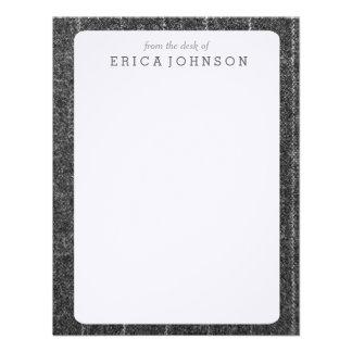 Charcoal Gray Pinstripe Tweed Slate Black Fabric Custom Invitations
