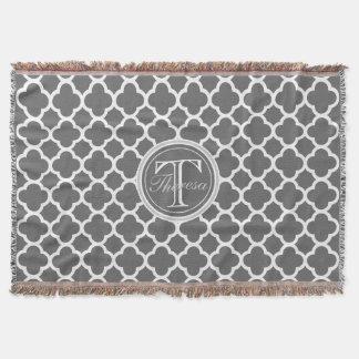 Charcoal Gray Quatrefoil Pattern Name Monogram