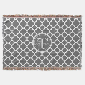 Charcoal Gray Quatrefoil Pattern Name Monogram Throw Blanket