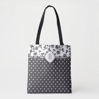 Charcoal Gray Rose Polka Dot Monogram Tote Bag