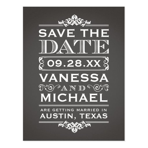 Charcoal Gray Rustic Vintage Save the Date Postcards