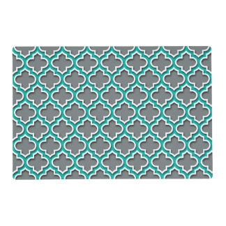 Charcoal Gray Teal White Moroccan Quatrefoil #5DS Laminated Placemat
