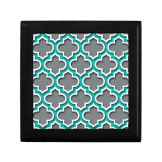 Charcoal Gray Teal White Moroccan Quatrefoil #5DS Small Square Gift Box