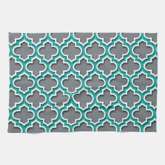 Charcoal Gray Teal White Moroccan Quatrefoil #5DS Tea Towel