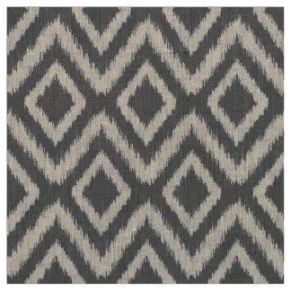 Charcoal Gray Tribal Ikat Chevron Fabric