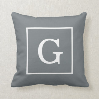 Charcoal Gray White Framed Initial Monogram Cushions