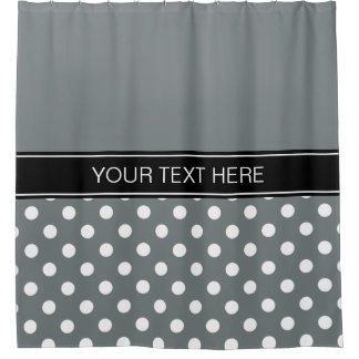 Charcoal Gray White LG Dot Black CB Name Monogram Shower Curtain
