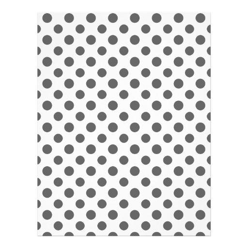 Charcoal Gray White Polka Dots Pattern Custom Flyer