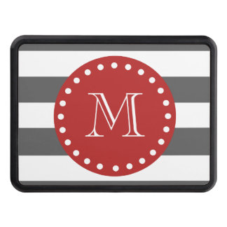 Charcoal Gray White Stripes Pattern, Red Monogram Trailer Hitch Cover