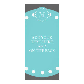 Charcoal Gray White Stripes Pattern, Teal Monogram Customized Rack Card