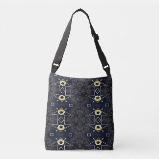 Charcoal Gray Yellow Pointing Arrows Crossbody Bag