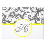Charcoal Grey and Yellow Enclosure Cards 11 Cm X 14 Cm Invitation Card