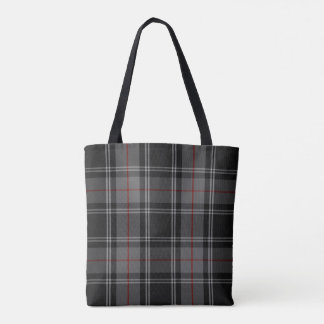 Charcoal Grey Black Ecru Red Tartan Plaid Tote Bag
