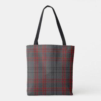 Charcoal Grey Black Red Pendleton Tartan Plaid Tote Bag