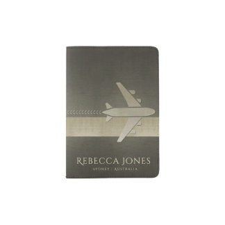 CHARCOAL GREY BLACK SILVER LEATHER PLANE MONOGRAM PASSPORT HOLDER