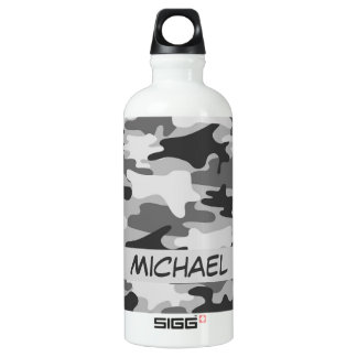 Charcoal Grey Camo Camouflage Name Personalized Water Bottle