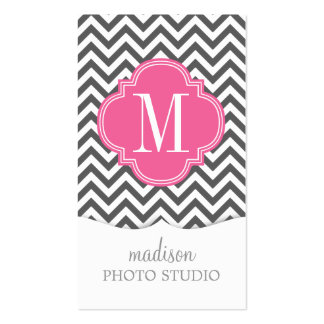 Charcoal Grey Chevron Zigzag Personalized Monogram Business Card Templates