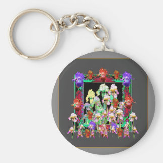 Charcoal Grey Color Iris Garden Gifts Basic Round Button Key Ring