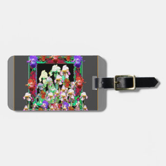 Charcoal Grey Color Iris Garden Gifts Luggage Tag