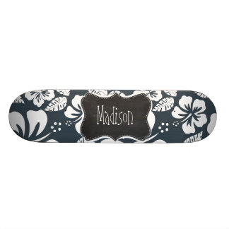Charcoal Grey, Gray Tropical Hibiscus; Chalkboard 21.6 Cm Old School Skateboard Deck