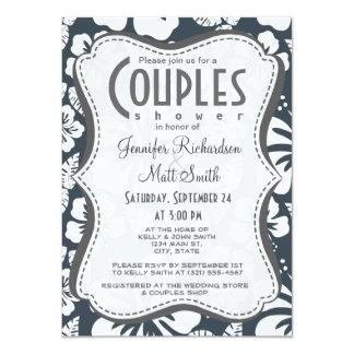 Charcoal Grey, Gray Tropical Hibiscus 11 Cm X 16 Cm Invitation Card