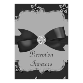 Charcoal Grey Island Flowers & Rhinestones Wedding Business Cards