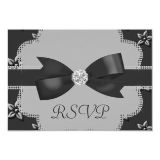 Charcoal Grey Island Flowers & Rhinestones Wedding Card