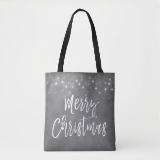 Charcoal Grey or Silver Christmas Script Holiday Tote Bag