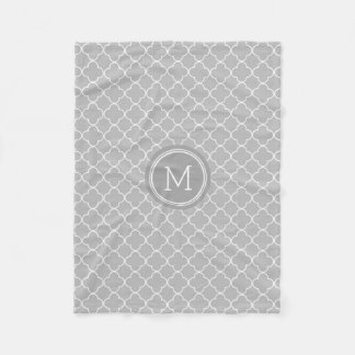 Charcoal Grey Quatrefoil Pattern Monogram Blanket