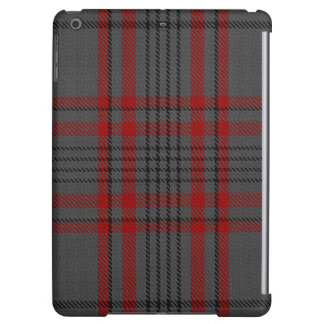 Charcoal Grey Red Black Tartan Plaid Cover For iPad Air