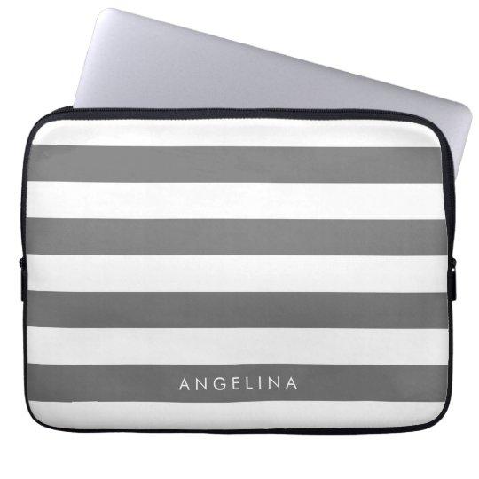 Charcoal Grey White Striped Pattern Custom Name Laptop Sleeve