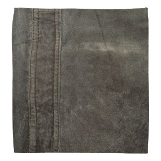 Charcoal Grunge Gray Faux Leather Bandana
