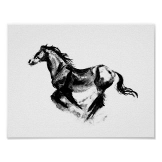 Charcoal Horse Poster