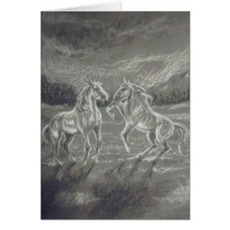 Charcoal Mustangs Greeting Card