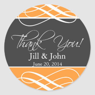 Charcoal Orange Thank You Favor Labels Wedding Round Sticker