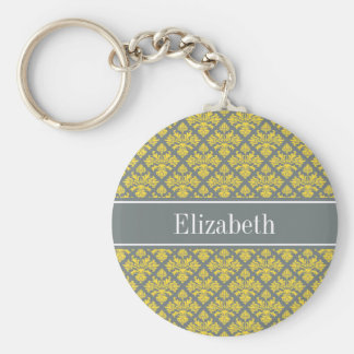 Charcoal Pineapple Damask #3 Yellow Name Monogram Basic Round Button Key Ring