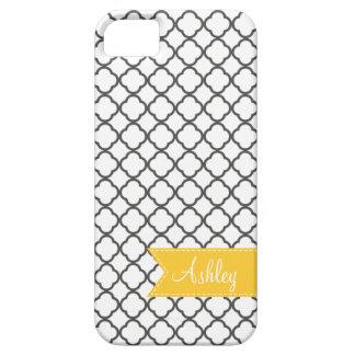 Charcoal Quatre Foil with Custom Monogram Ribbon iPhone 5 Case