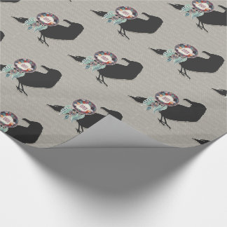 Charcoal Raven and Dream Catcher Native American Wrapping Paper