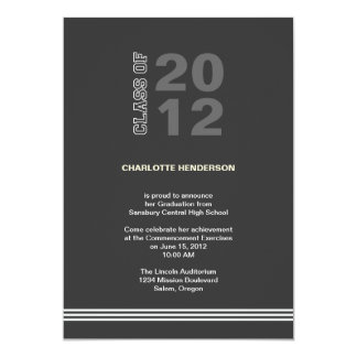 "Charcoal sport stripe graduation class invitation 5"" x 7"" invitation card"