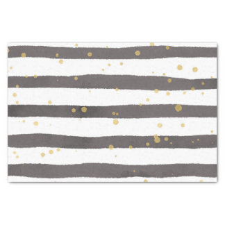 Charcoal Watercolor Stripes With Gold Speckles Tissue Paper