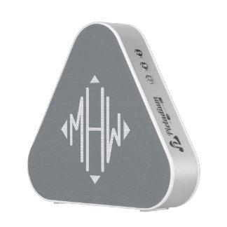 Charcoal White 3 Initials Diamond Shape Monogram Bluetooth Speaker