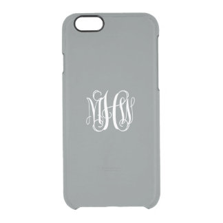Charcoal White 3 Initials Vine Script Monogram Clear iPhone 6/6S Case