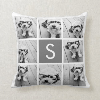 Charcoal White 8 Photo Collage Custom Monogram Throw Cushions