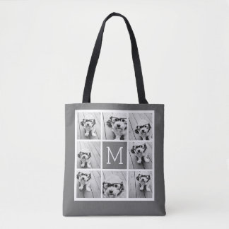 Charcoal White 8 Photo Collage Custom Monogram Tote Bag