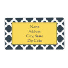 Charcoal, White and Yellow Quatrefoil Pattern