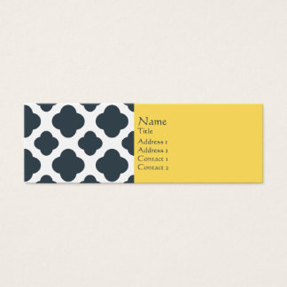 Charcoal, White and Yellow Quatrefoil Pattern Mini Business Card